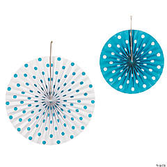 Turquoise Polka Dot Hanging Fans - Less Than Perfect