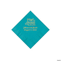 Turquoise The Adventure Begins Personalized Napkins with Gold Foil - Beverage