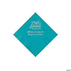 Turquoise The Adventure Begins Personalized Napkins with Silver Foil - Beverage