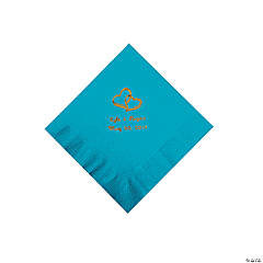 Turquoise Two Hearts Personalized Napkins with Gold Foil - Beverage