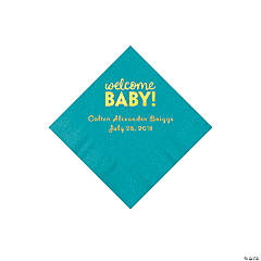 Turquoise Welcome Baby Personalized Napkins with Gold Foil - Beverage