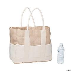 Two-Tone Burlap Tote Bag