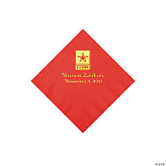 U.S. Army® Personalized Red Napkins with Gold Foil - Beverage