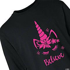 Unicorn Believe Youth Long Sleeve Christmas T-Shirt - Extra Small