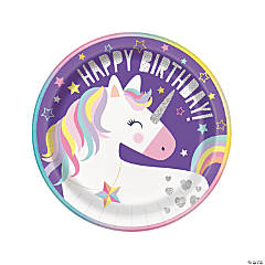 Unicorn Birthday Paper Dinner Plates - 8 Ct.