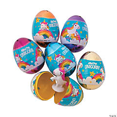 Unicorn-Filled Plastic Easter Eggs - 12 Pc.