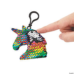 Unicorn Flipping Sequin Backpack Clip Keychains