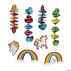 Unicorn Hanging Spiral Decorations - 12 Pc.