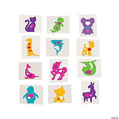 Valentine Animal Silhouette Temporary Tattoos