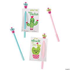 Valentine Cactus Pens with Card