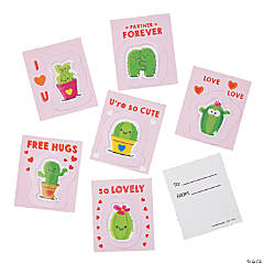 Valentine Cards with Cactus Puffy Sticker