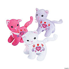 Valentine Embroidered Stuffed Kittens