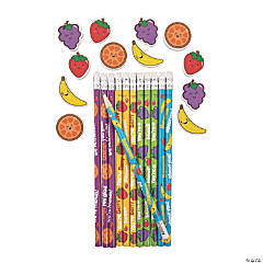 Valentine Fruit Pencils with Scented Erasers - 24 Pc.