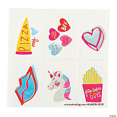 Valentine Girl Unicorn Temporary Tattoos