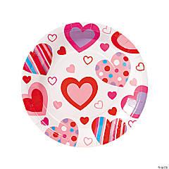 Valentine Hearts Paper Dinner Plates