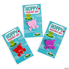 Valentine Jumping Hearts with Frog Valentine's Day Card - 72 Pc.