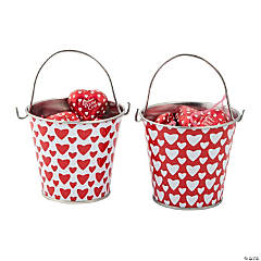 Valentine Pails with Chocolate Candy Hearts
