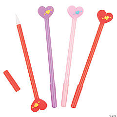 Valentine Pens with Heart Toppers