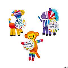 Valentine Rainbow Stuffed Zoo Animals with Card
