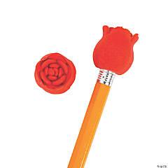 Valentine Rose Eraser Pencil Toppers