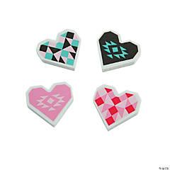 Valentine's Day Geo Print Erasers