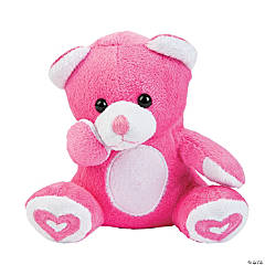 Valentine Stuffed Bears with Embroidered Hearts