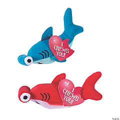 Valentine Stuffed Hammerhead Sharks with Card