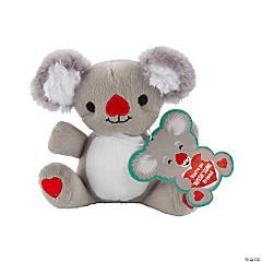 Valentine Stuffed Koalas with Valentine's Day Card