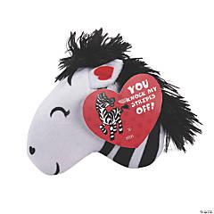 Valentine Stuffed Zebras with Valentine's Day Card