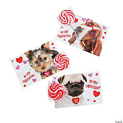 Valentine Swirl Lollipops with Dog Card