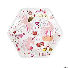 Valentine Unicorn Paper Dinner Plates - 8 Ct.