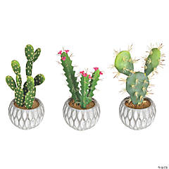 """Vickerman 10"""" Green Cactus in Cement Pot - Qty 3, assorted"""