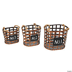 "Vickerman 10"" Wire Chalkboard Oval Basket - 3/pk"