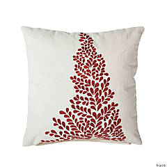 "Vickerman 18"" x 18 Decorative Red Stitched Christmas Tree Throw Pillow"