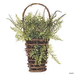 """Vickerman 21"""" Artificial Green Fern in Hanging Wall Basket"""