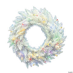 """Vickerman 24"""" Sparkle White Spruce Christmas Wreath with Multi-Colored LED Lights"""