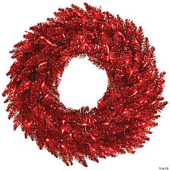 """Vickerman 24"""" Tinsel Red Wreath with Red Lights"""