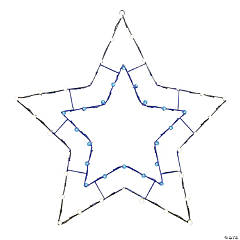 """Vickerman 48"""" Blue-White LED 5 Point Star Wire Silhouette"""