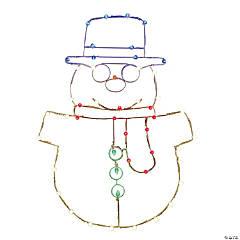 """Vickerman 48"""" Multi-Colored LED Snowman Wire Silhouette"""