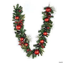 Vickerman 6' Mixed Green with Red Ornaments Christmas Garland, Unlit