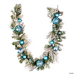 Vickerman 6' mixed needle flocked Artificial Christmas garland, pre-decorated, Unlit