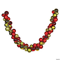 Vickerman 7' Red and Lime Green Assorted Ornament Garland