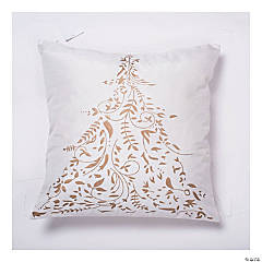 "Vickerman White Gold Foiled Tree 18"" x 18"" Throw Pillow"