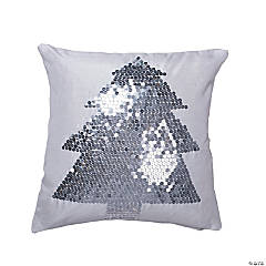 "Vickerman White Silver Sequined Tree 18"" x 18"" Throw Pillow"