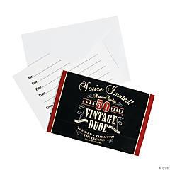 Vintage Dude 50th Birthday Invitations - 8 Pc.