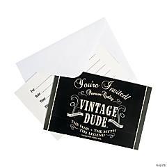 Vintage Dude Birthday Invitations