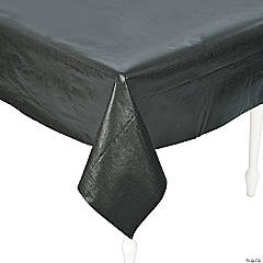 Vinyl Black Rectangle Tablecloth with Flannel Back