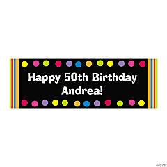 Vinyl Bright Dots Personalized Birthday Banner - Small