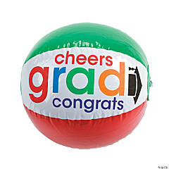 "Vinyl Inflatable Bright ""Cheers To the Grad"" Beach Balls"