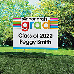 Vinyl Personalized Cheers To the Grad Yard Sign